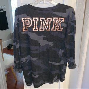 Victoria's Secret Pink Long Sleeve V- Neck Tee
